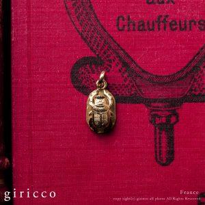 フランス アンティーク K18ゴールド スカラベ チャーム 1900-20 FARNCE(TJ10928)