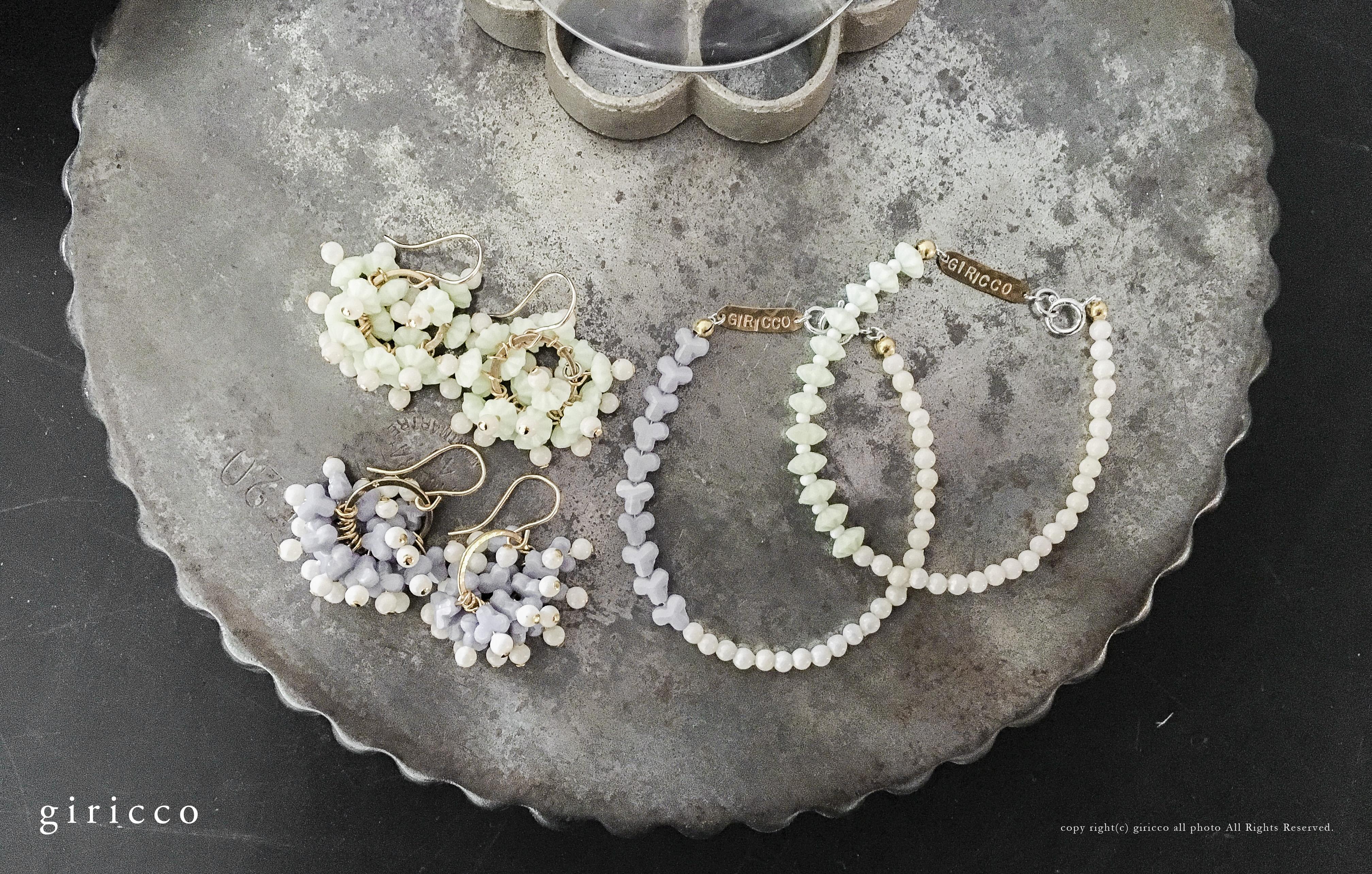 紫陽花ピアス、イヤリング、ブレスレット