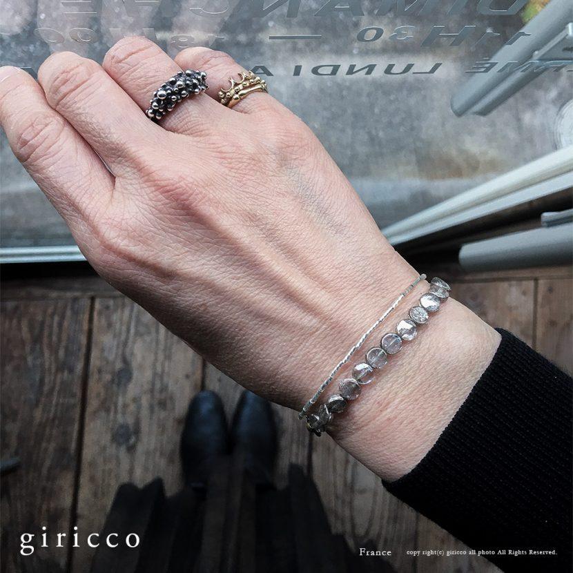 繊細で上品なフランスのヴィンテージシルバースフレガラスのブレスレット tj11000